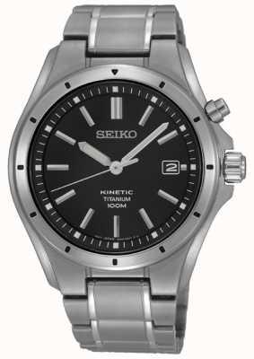 Seiko Exhibición de la fecha del dial negro titanio de los hombres SKA763P1