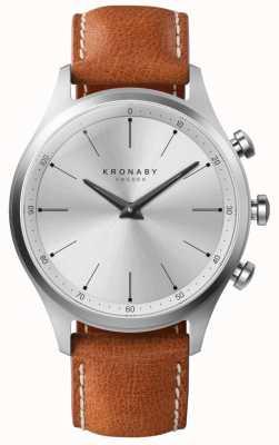 Kronaby 41mm Sekel Silver Dial correa de cuero marrón A1000-3125