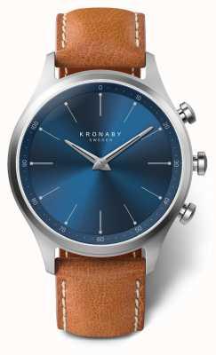 Kronaby 41mm sekel blue dial correa de cuero marrón A1000-3124