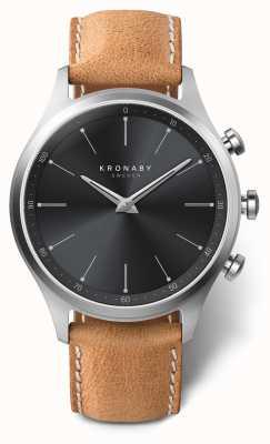 Kronaby 41 mm sekel esfera negra correa de cuero marrón a1000-3123 S3123/1