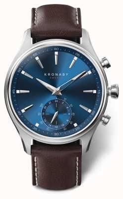 Kronaby 41mm sekel blue dial correa de cuero marrón A1000-3120