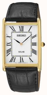 Seiko Caja rectangular de números romanos en oro para hombres SUP880P1