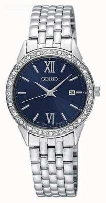 Seiko Dial azul cristal set bisel fecha exhibición de acero inoxidable SUR691P1