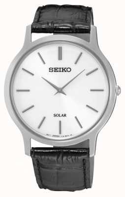 Seiko Correa de cuero negro de caja de acero inoxidable con esfera blanca SUP873P1