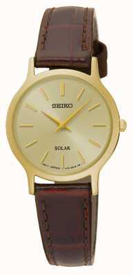 Seiko Dial de oro solar y correa de cuero marrón de la caja SUP302P1