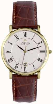 Michel Herbelin Exhibición de fecha clásica oro caja de acero inoxidable cuero marrón 12248/P08MA