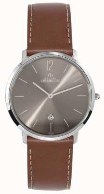 Michel Herbelin Correa de color marrón oscuro de ikone de acero inoxidable para hombres 19515/27GO
