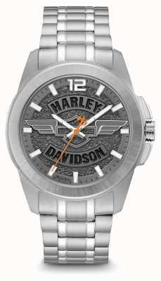 Harley Davidson Logo print dial plateado caja y brazalete de acero inoxidable 76A157