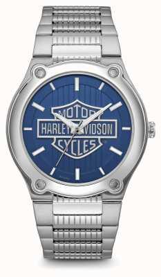 Harley Davidson Pulsera de acero inoxidable con esfera azul con logo estampado 76A159