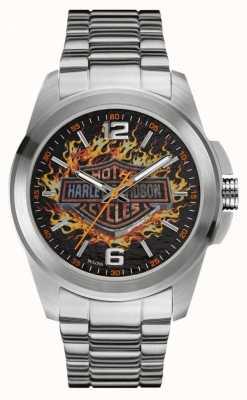 Harley Davidson Flaming logo print dial caja de acero inoxidable y pulsera 76A147