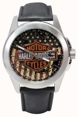 Harley Davidson Bandera americana imprimir logotipo esfera de acero inoxidable caja de cuero 76A153