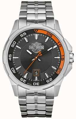 Harley Davidson Pulsera de acero inoxidable con fecha de marcado en color gris oscuro 76B170