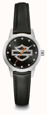 Harley Davidson Conjunto de cristal para mujer con logotipo negro y correa de piel negra 76L181