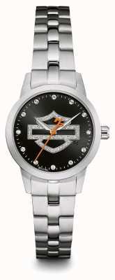 Harley Davidson Conjunto de cristal con logo negro y brazalete de acero inoxidable con esfera 76L182