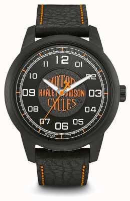 Harley Davidson Logo estampado esfera negra caja plateada ip correa de cuero negro 78A116