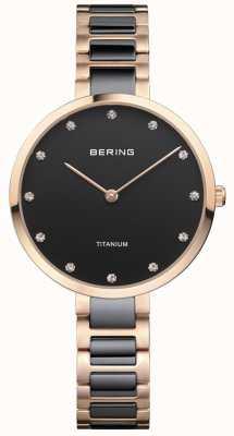 Bering Dial de cristal de titanio de oro rosa y negro 11334-762