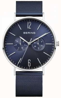 Bering Dial clásico azul pulsera de malla azul día y fecha de visualización 14240-307