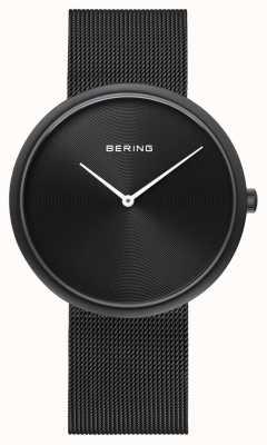 Bering Correa de malla negra mate negra clásica 14339-222