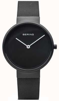 Bering Brazalete de malla recubierta de IP negro mate negro clásico 14531-122