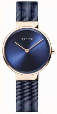 Bering Cuadrado azul marino plateado ip de la caja del oro rosa del dial azul clásico de las mujeres 14531-367