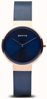 Bering Esfera clásica para mujer con esfera azul, oro rosa, malla azul chapada en ip 14531-367