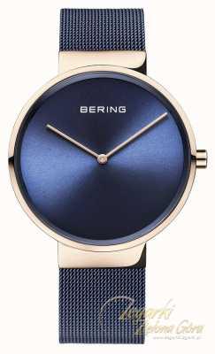 Bering Correa de malla plateada ip del azul de la caja del oro rosa del dial clásico 14539-367