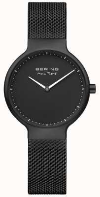 Bering Esfera negra mate de Max René y correa de malla chapada en negro 15531-123