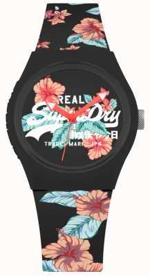 Superdry Correa de silicona con estampado floral negro urbano para mujeres SYL160BO