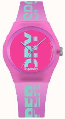 Superdry El logotipo cian de la caja rosa urbana de las mujeres imprime SYL189PN