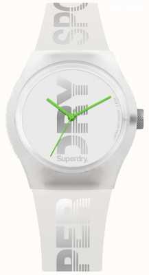 Superdry Funda de silicona blanca para mujer y correa verde lima SYL189WE