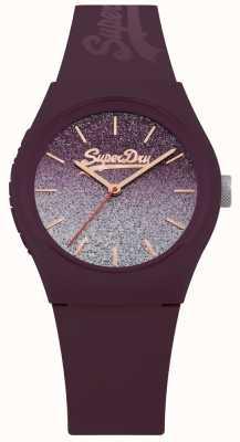 Superdry Estuche para correa y correa de silicona púrpura con esfera purpurina para mujer SYL179R