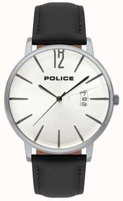 Police La fecha de la virtud de los hombres muestra el dial blanco correa de cuero negro 15307JS/01