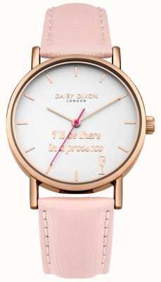 Daisy Dixon Eslogan correa de cuero rosa con inscripción caja de oro rosa DD079PRG
