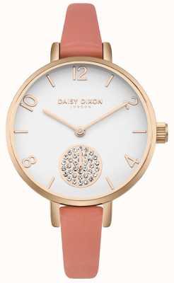 Daisy Dixon Cristal de alice para mujer conjunto de correa de cuero rosa subdial DD0750RG