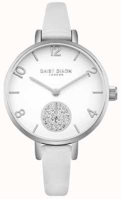 Daisy Dixon Cristal de alice para mujer con correa subdial de cuero blanco DD075WS
