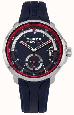 Superdry La fecha de los hombres muestra el dial azul correa de silicona azul SYG217U