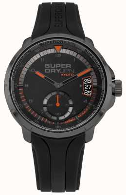 Superdry Correa de silicona negra para hombre con fecha de kyoto SYG217BB