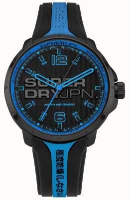 Superdry Correa de silicona negra y azul kyoto para hombre SYG216BU