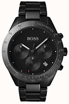 Hugo Boss Pantalla negra de la fecha del dial negro del talento para hombre de la pulsera plateada del IP 1513581