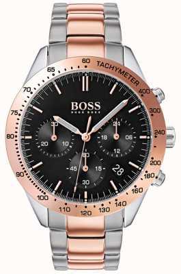 Hugo Boss Anillo negro de oro y plata con dos tonos para hombre 1513584