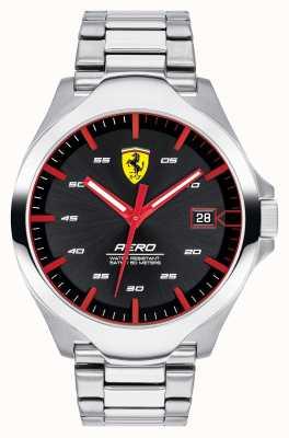 Scuderia Ferrari Reloj de pulsera de acero inoxidable con esfera negra para hombre 0830507