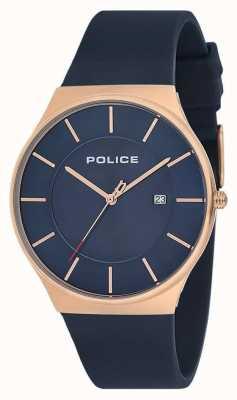 Police Nuevo reloj para hombre correa de silicona azul 15045JBCR/03P