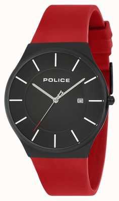 Police Nuevo reloj horizonte correa de silicona rojo 15045JBCB/02PB