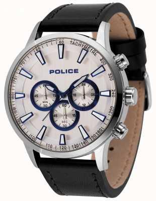 Police Reloj de cronógrafo de momento masculino correa de cuero negro 15000JS/04