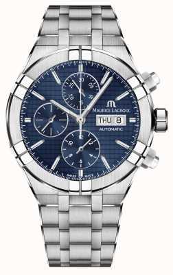 Maurice Lacroix Aikon cronógrafo automático reloj de acero inoxidable de línea azul AI6038-SS002-430-1