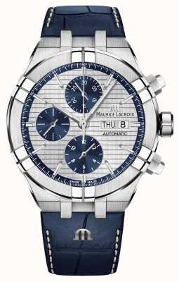 Maurice Lacroix Aikon cronógrafo automático correa de cuero azul reloj AI6038-SS001-131-1