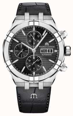 Maurice Lacroix Aikon cronógrafo automático correa de cuero negro reloj AI6038-SS001-330-1