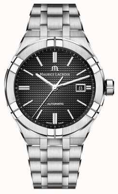 Maurice Lacroix Reloj automático de esfera negra de acero inoxidable Aikon AI6008-SS002-330-1