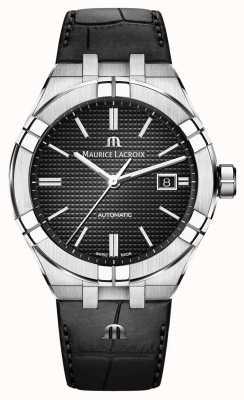 Maurice Lacroix Reloj automático de cuero negro con esfera negra Aikon AI6008-SS001-330-1