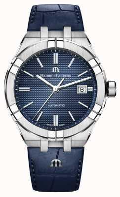 Maurice Lacroix Aikon automático esfera azul reloj de cuero azul AI6008-SS001-430-1
